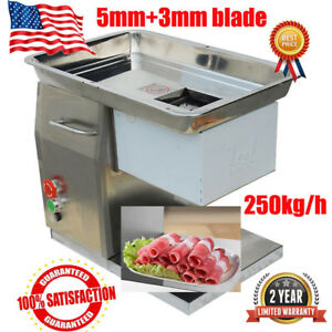 250kg hour Commercial Meat Slicer Machine Stainless Steel Cutter 3mm 5mm Blade