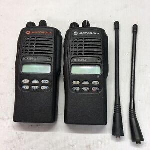 Lot Of 2x Motorola Ht1250ls Portable Radios W batteries Aah25sdh9dp7an