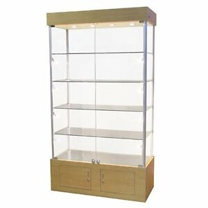 New Lighted Maple Tower Display Case With 4 Shelves 40 W X 18 D X 72 3 4 H