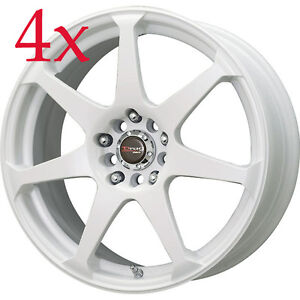 Drag Wheels Dr 33 17x7 5 4x100 4x114 White Rims For Altima Neon Prius Golf