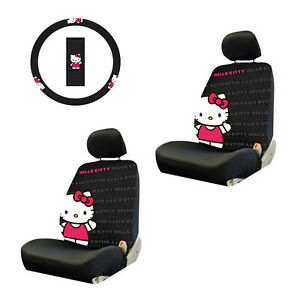 New 5pc Hello Kitty Core Combo W Steering Wheel Cover Seat Covers Gift Set
