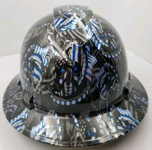 Full Brim Hard Hat Custom Hydro Dipped Thin Blue Line Usa Flag Osha Approved