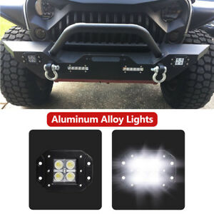 For 07 18 Jeep Wrangler Jk Front Bumper Jeep D rings built in Cree Led Lights D