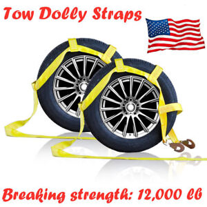 Car Dolly Flat Bed Car Tie Down Kit Wheel Tire Basket Strap Set Of 2 Auto Straps