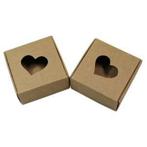 Heart Shaped Kraft Paper Window Folded Box For Gift Wedding Party Favor Jewelry