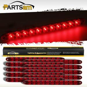 10pcs Red Lens 15 Inch Three 3rd Brake Stop Tail Light Bar 11 Led Flange Mount