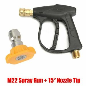 M22 High Pressure Spray Gun Water Jet Lance For Car Wash 15 1 4 Adapter Nozzle