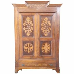 19th Century Antique Italian Charles X Walnut Inlaid Wood Wardrobe Armoire 1825s