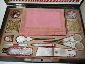 Rare Palais Royal Sewing Box Mother Of Pearl Thimble Needle Case Scissors C1820
