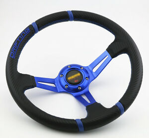 350mm Deep Dish Blue 3d Pvc Racing Drifting Sport Jdm Off Road Steering Wheel