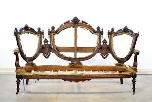 Carved American Walnut Victorian Medallion Back Sofa Frame With Faces Jelliff