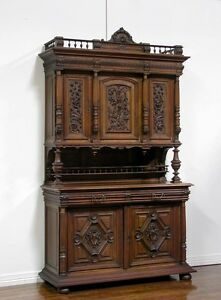 Antique French Walnut Renaissance Carved Buffet Sideboard Cabinet