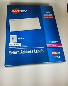 Avery 5967 Return Address Labels 1 2 X 1 3 4 White 20000 box