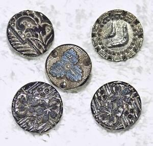 Lot Of 5 Antique Victorian Lacy Black Glass Buttons Silver Luster Floral 1 2 Ll