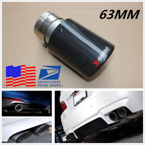 Diy 63mm 89mm Glossy Car Real Carbon Fiber Exhaust Tip Pipe Muffler Tail Throat