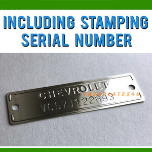 Chevrolet 1953 1963 Data Plate Id Tag Chevy Truck Car Corvette Stamped Number
