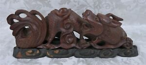 Rare Antique Chinese Carved Wood Carved Dragon Statue On Stand Signed
