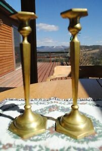 Antique Solid Cast Brass Candlesticks 10 75 In Tall