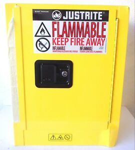 Justrite 890200 1 Gal Cap 22x17x8 In Yellow Flammable Liquid Safety Cabinet
