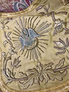 Religious Church Chasuble Cope Hood Gold Metallic Embroidery Stumpwork Pelican