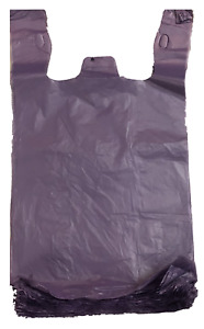 1000 Purple Plastic T shirt Shopping Bags Handles Grocery 6 x3 x13