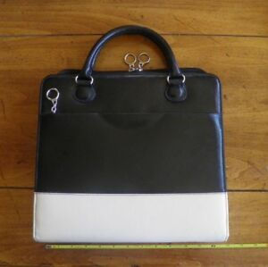 Franklin Covey 7 Ring Binder Black Cream Planner W Handles Soft Leather Silver
