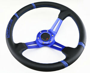 350mm Deep Blue Stitch Black Spoke 6 Bolt Racing Drifting Steering Wheel Horn