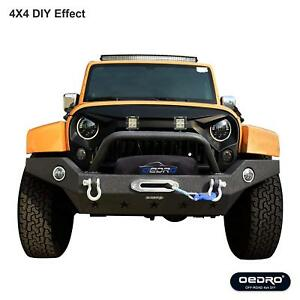 Fit For 2007 18 Jeep Wrangler Jk Full Width Front Bumper Combo With 2 Led Lights