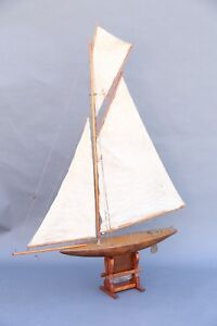 Large Antique English Pond Yacht Model Reduced 100