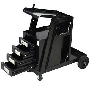 4 Drawer Cabinet Welding Portable Welder Cart Plasma Cutter Tank Storage