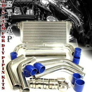 Jdm 31 Turbo Bar plate Intercooler 2 5 Chrome Piping Pipe Kit W Blue Couplers