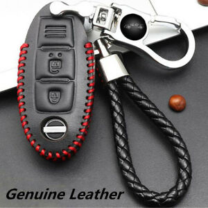 For Nissan Car Real Leather Chromium Remote Key Bag Case Holder Cover Key Chain