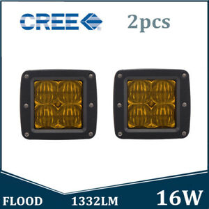 2x 16w Cree Led Work Light Driving Pods Cube 4wd Fog Light Flood Amber Offroad
