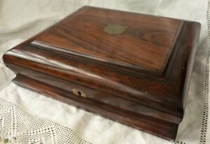 Antique Wooden Rosewood Box Inlaid Brass Shield Jewellery Documents Deeds