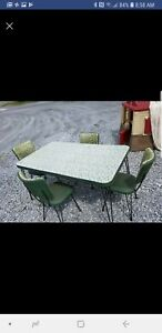 Vtg 1950s Mid Century Formica Green Stitch Dinette Hairpin Legs Table