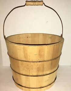 Antique Staved Wood Old Bucket 3 Iron Bands Tight