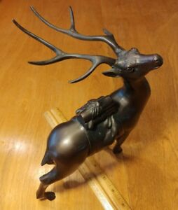 Japanese Bronze Deer Statue Sculpture Okimono