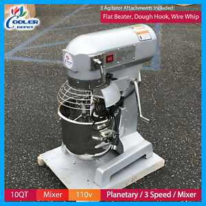10 Qt Planetary Mixer Heavy Duty Commercial 110v 3 Attachments Cooler Depot