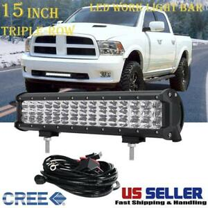 15inch Triple row Cree Led Work Light Bar Spot Flood Combo Offroad Driving Truck