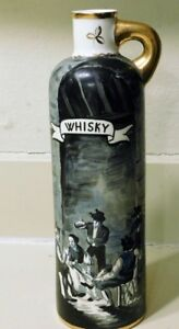Vintage Whisky Hand Painted Jug With Drinking Scene
