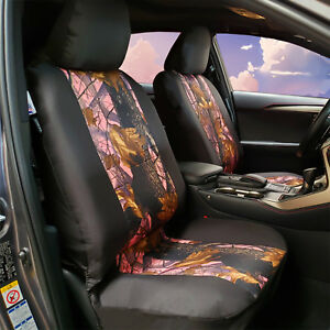 Pink Lady Camo Black Waterproof Canvas Airbag Front Seat Covers Universal Fit