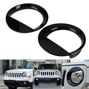 Angry Bird Front Headlight Trim Cover Bezels Pair Black For Jeep Patriot 11 17
