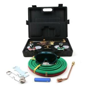 Gas Welding And Cutting Kit Acetylene Oxygen Torch Set Regulator W Case