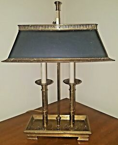 Heavy French Empire Style Brass Bouillotte Table Lamp Black Gold Tole Shade