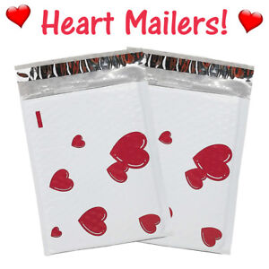 6x10 Heart Poly Bubble Mailers Designer Padded Shipping Envelopes 10 100 Pack