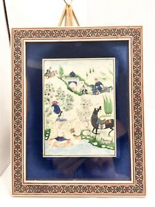 Phenomenal Early 20th C Framed Vtg Persian Miniature Painting Romantic Signed