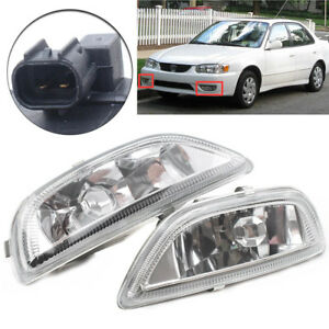 Pair Clear Lens Front Driving Lamp Fog Lights For Toyota Corolla 2001 2002
