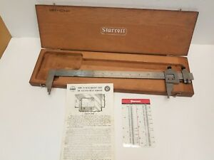 Starrett No 122 Vernier Caliper 12 In Slim Wood Case 001 Free Usa Shipping