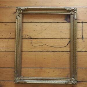 Vintage 16 1 4 X 20 1 4 Painted Gold Wood Picture Frame