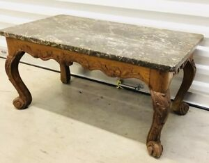 Antique French Louis Xv Oak Carved Green Marble Top Coffee Table